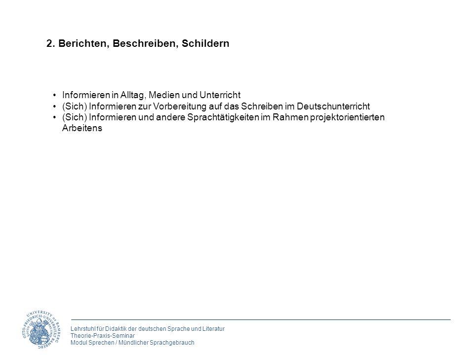 Lehrstuhl für Didaktik der deutschen Sprache und Literatur Theorie-Praxis-Seminar Modul Sprechen / Mündlicher Sprachgebrauch 2. Berichten, Beschreiben
