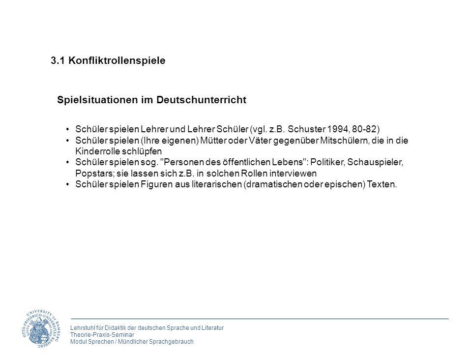 Lehrstuhl für Didaktik der deutschen Sprache und Literatur Theorie-Praxis-Seminar Modul Sprechen / Mündlicher Sprachgebrauch 3. Rollen spielen Spielsi