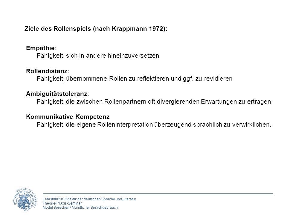 Lehrstuhl für Didaktik der deutschen Sprache und Literatur Theorie-Praxis-Seminar Modul Sprechen / Mündlicher Sprachgebrauch Empathie: Fähigkeit, sich