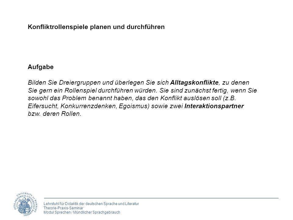 Lehrstuhl für Didaktik der deutschen Sprache und Literatur Theorie-Praxis-Seminar Modul Sprechen / Mündlicher Sprachgebrauch 3. Rollen spielen Aufgabe