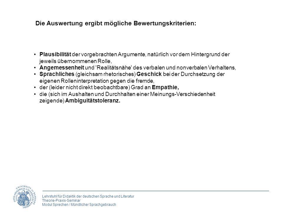 Lehrstuhl für Didaktik der deutschen Sprache und Literatur Theorie-Praxis-Seminar Modul Sprechen / Mündlicher Sprachgebrauch 3. Rollen spielen Plausib