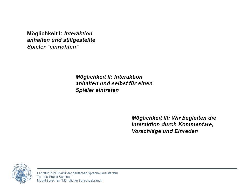 Lehrstuhl für Didaktik der deutschen Sprache und Literatur Theorie-Praxis-Seminar Modul Sprechen / Mündlicher Sprachgebrauch Möglichkeit I: Interaktio