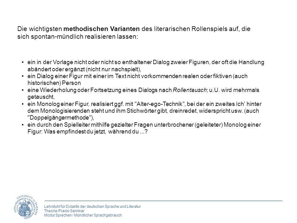 Lehrstuhl für Didaktik der deutschen Sprache und Literatur Theorie-Praxis-Seminar Modul Sprechen / Mündlicher Sprachgebrauch Die wichtigsten methodisc