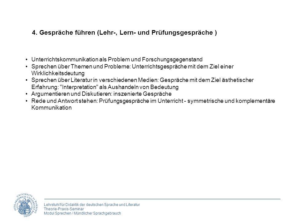 Lehrstuhl für Didaktik der deutschen Sprache und Literatur Theorie-Praxis-Seminar Modul Sprechen / Mündlicher Sprachgebrauch 4. Gespräche führen (Lehr
