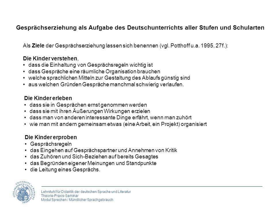 Lehrstuhl für Didaktik der deutschen Sprache und Literatur Theorie-Praxis-Seminar Modul Sprechen / Mündlicher Sprachgebrauch 4. Gespräche führen Gespr