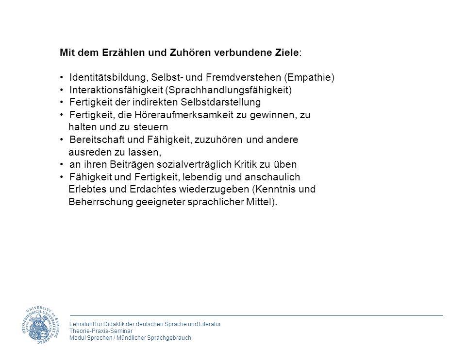 Lehrstuhl für Didaktik der deutschen Sprache und Literatur Theorie-Praxis-Seminar Modul Sprechen / Mündlicher Sprachgebrauch Mit dem Erzählen und Zuhö