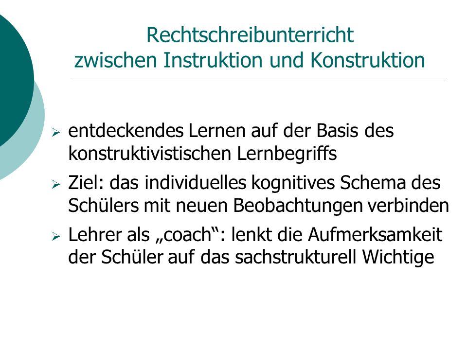Rechtschreibunterricht zwischen Instruktion und Konstruktion entdeckendes Lernen auf der Basis des konstruktivistischen Lernbegriffs Ziel: das individ