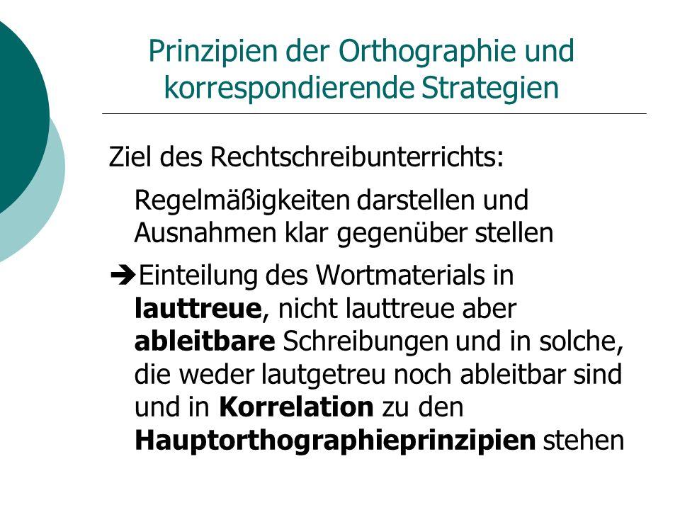 Prinzipien der Orthographie und korrespondierende Strategien Ziel des Rechtschreibunterrichts: Regelmäßigkeiten darstellen und Ausnahmen klar gegenübe