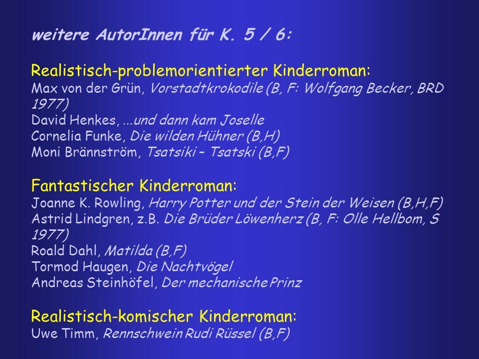 weitere AutorInnen für K. 5 / 6: Realistisch-problemorientierter Kinderroman: Max von der Grün, Vorstadtkrokodile (B, F: Wolfgang Becker, BRD 1977) Da