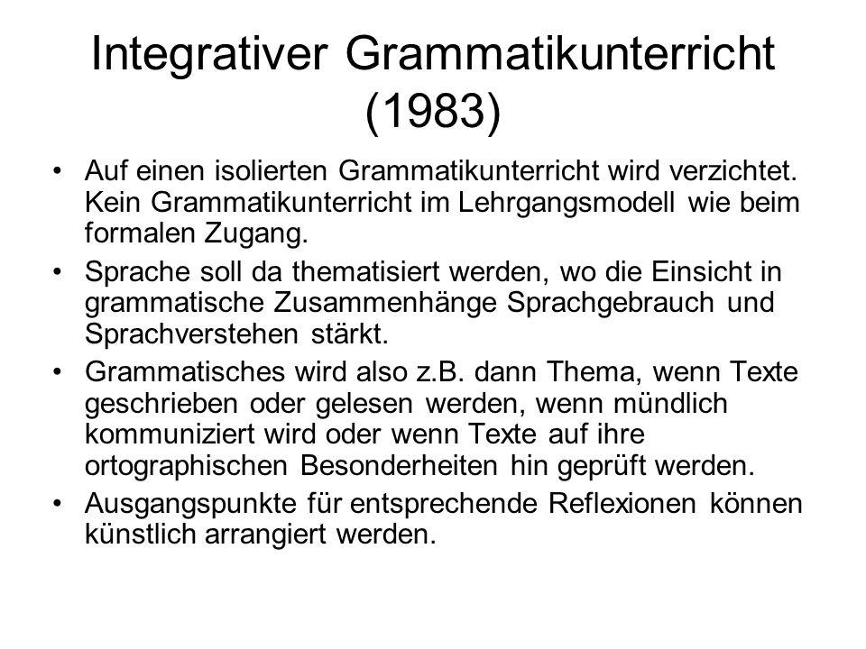 Integrativer Grammatikunterricht (1983) Auf einen isolierten Grammatikunterricht wird verzichtet. Kein Grammatikunterricht im Lehrgangsmodell wie beim