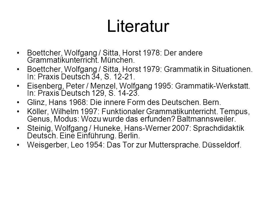Literatur Boettcher, Wolfgang / Sitta, Horst 1978: Der andere Grammatikunterricht. München. Boettcher, Wolfgang / Sitta, Horst 1979: Grammatik in Situ