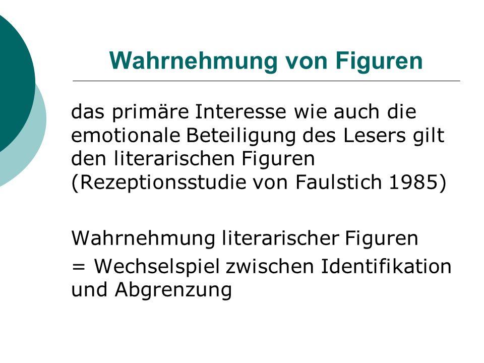 Wahrnehmung von Figuren das primäre Interesse wie auch die emotionale Beteiligung des Lesers gilt den literarischen Figuren (Rezeptionsstudie von Faul