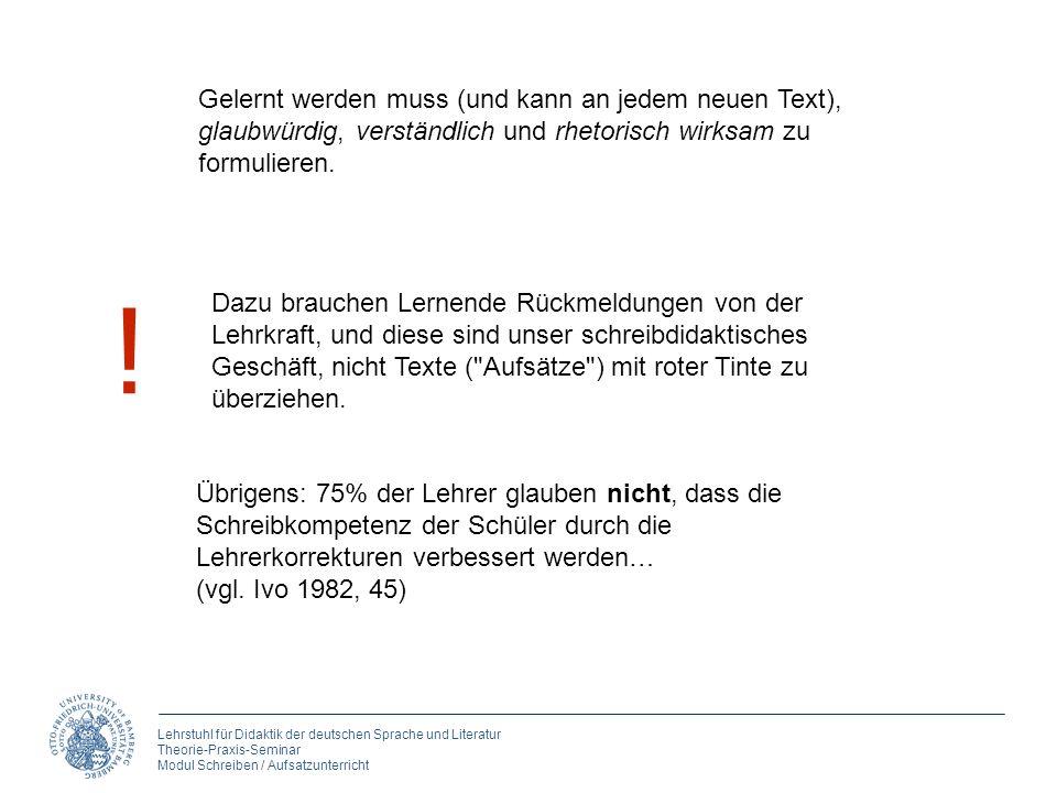 Lehrstuhl für Didaktik der deutschen Sprache und Literatur Theorie-Praxis-Seminar Modul Schreiben / Aufsatzunterricht Gelernt werden muss (und kann an