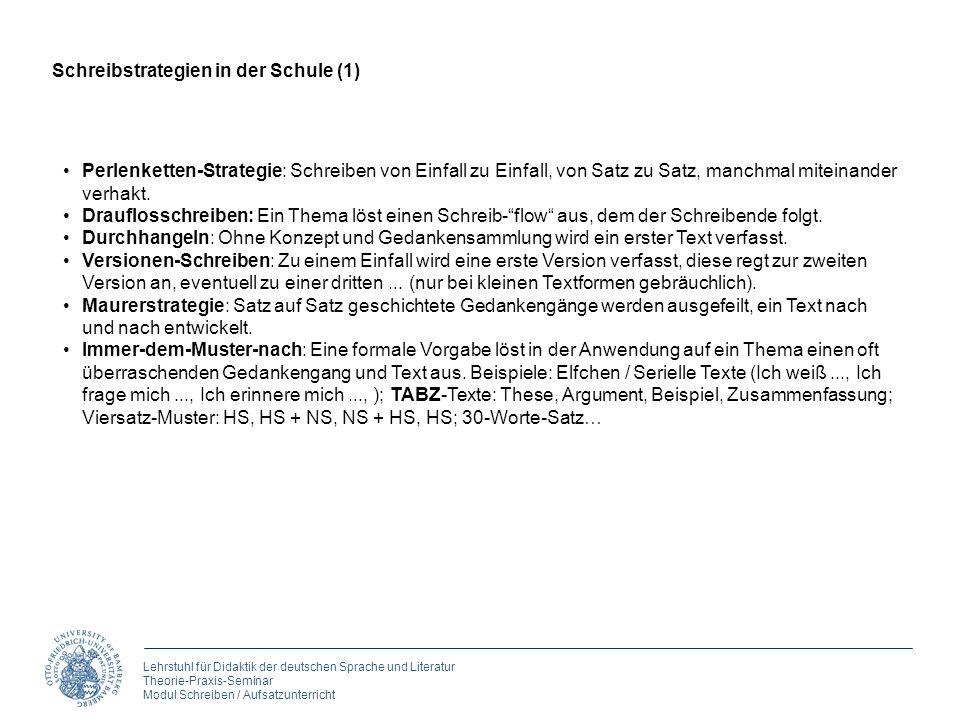 Lehrstuhl für Didaktik der deutschen Sprache und Literatur Theorie-Praxis-Seminar Modul Schreiben / Aufsatzunterricht Perlenketten-Strategie: Schreibe