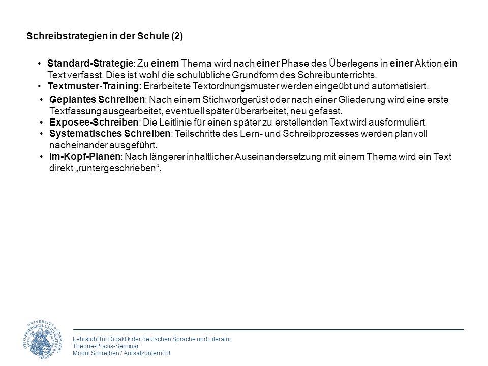 Lehrstuhl für Didaktik der deutschen Sprache und Literatur Theorie-Praxis-Seminar Modul Schreiben / Aufsatzunterricht Standard-Strategie: Zu einem The