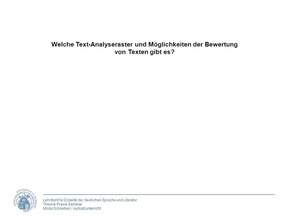 Lehrstuhl für Didaktik der deutschen Sprache und Literatur Theorie-Praxis-Seminar Modul Schreiben / Aufsatzunterricht Welche Text-Analyseraster und Mö