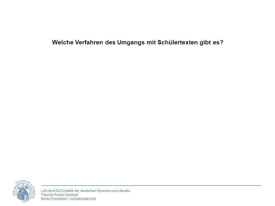 Lehrstuhl für Didaktik der deutschen Sprache und Literatur Theorie-Praxis-Seminar Modul Schreiben / Aufsatzunterricht Welche Verfahren des Umgangs mit