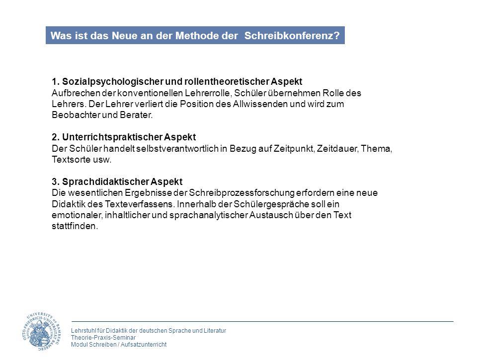 Lehrstuhl für Didaktik der deutschen Sprache und Literatur Theorie-Praxis-Seminar Modul Schreiben / Aufsatzunterricht Was ist das Neue an der Methode