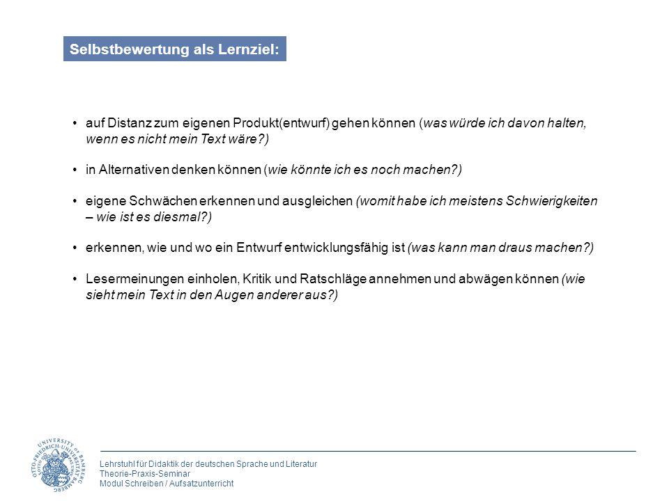 Lehrstuhl für Didaktik der deutschen Sprache und Literatur Theorie-Praxis-Seminar Modul Schreiben / Aufsatzunterricht Selbstbewertung als Lernziel: au