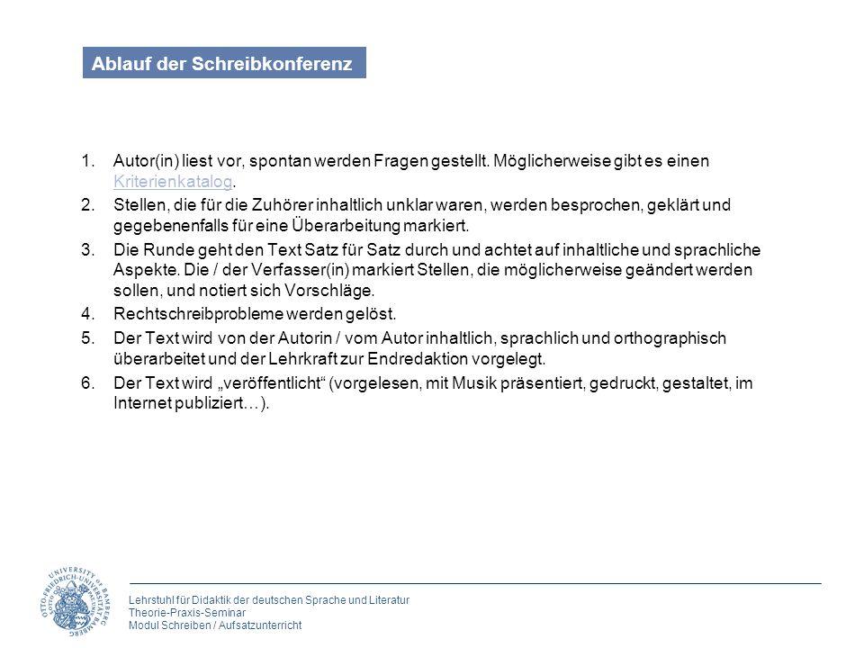 Lehrstuhl für Didaktik der deutschen Sprache und Literatur Theorie-Praxis-Seminar Modul Schreiben / Aufsatzunterricht Ablauf der Schreibkonferenz 1.Au