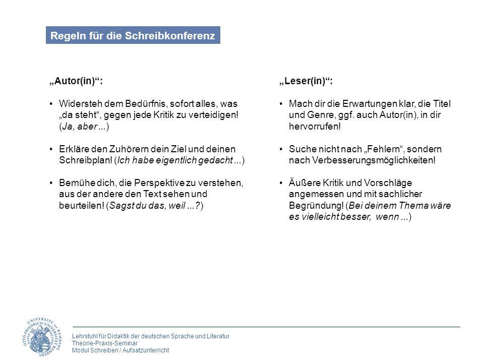 Lehrstuhl für Didaktik der deutschen Sprache und Literatur Theorie-Praxis-Seminar Modul Schreiben / Aufsatzunterricht Autor(in): Widersteh dem Bedürfn