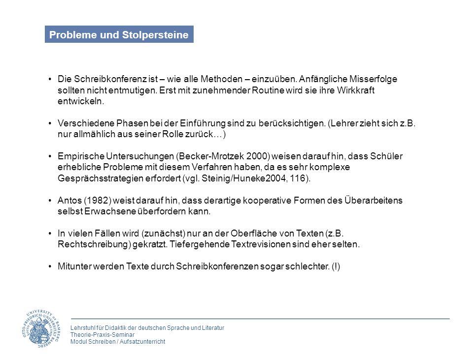 Lehrstuhl für Didaktik der deutschen Sprache und Literatur Theorie-Praxis-Seminar Modul Schreiben / Aufsatzunterricht Die Schreibkonferenz ist – wie a