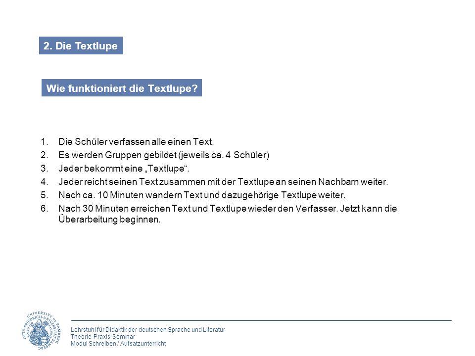 Lehrstuhl für Didaktik der deutschen Sprache und Literatur Theorie-Praxis-Seminar Modul Schreiben / Aufsatzunterricht Wie funktioniert die Textlupe? 1
