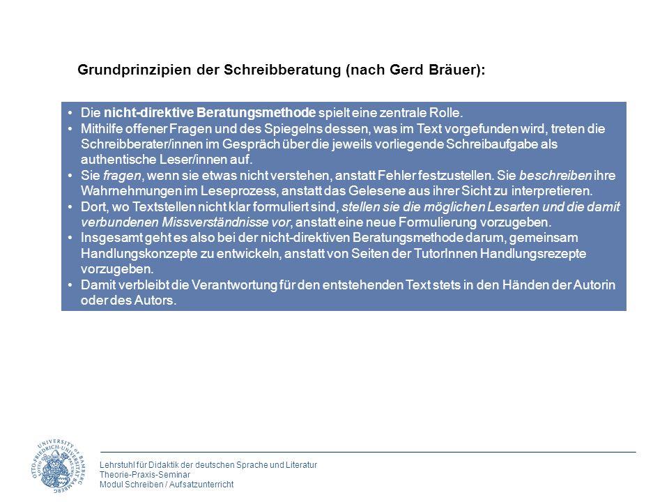 Lehrstuhl für Didaktik der deutschen Sprache und Literatur Theorie-Praxis-Seminar Modul Schreiben / Aufsatzunterricht Die nicht-direktive Beratungsmet