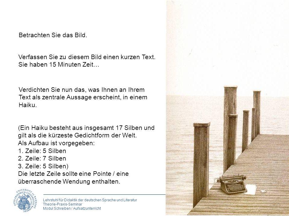Lehrstuhl für Didaktik der deutschen Sprache und Literatur Theorie-Praxis-Seminar Modul Schreiben / Aufsatzunterricht Betrachten Sie das Bild. Verfass