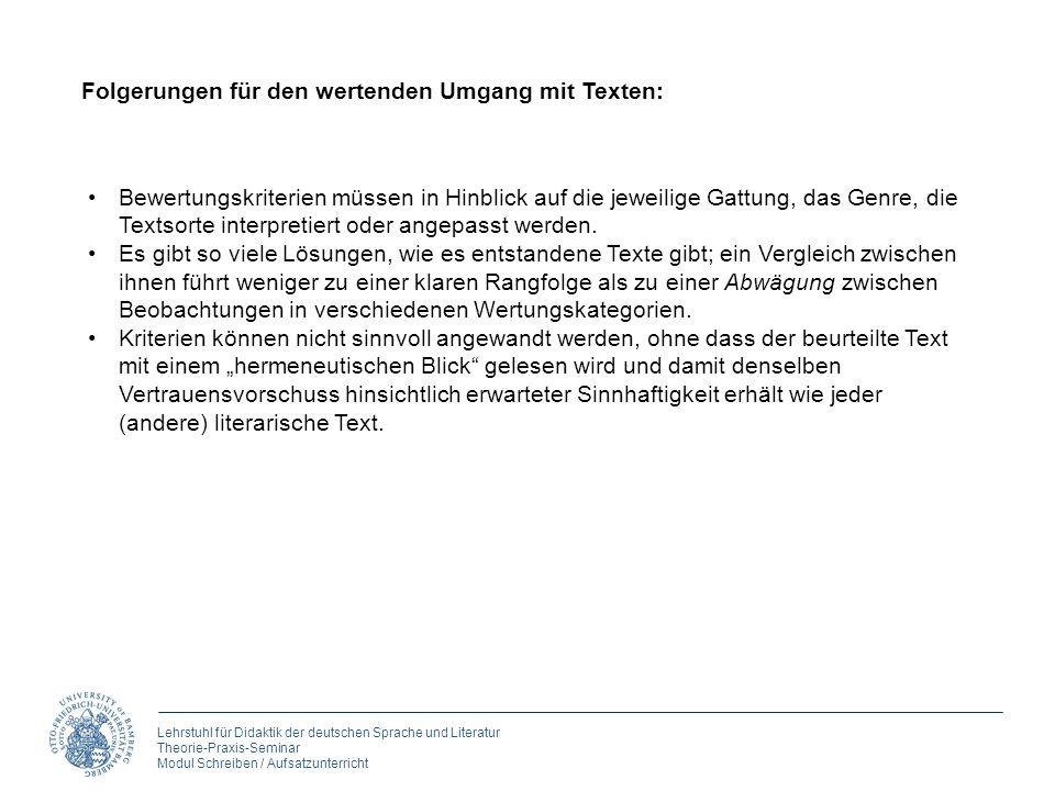Lehrstuhl für Didaktik der deutschen Sprache und Literatur Theorie-Praxis-Seminar Modul Schreiben / Aufsatzunterricht Folgerungen für den wertenden Um
