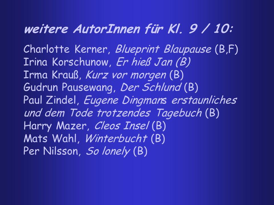 weitere AutorInnen für Kl. 9 / 10: Charlotte Kerner, Blueprint Blaupause (B,F) Irina Korschunow, Er hieß Jan (B) Irma Krauß, Kurz vor morgen (B) Gudru