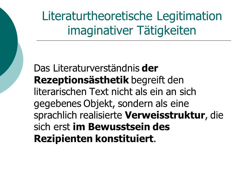Literaturtheoretische Legitimation imaginativer Tätigkeiten Das Literaturverständnis der Rezeptionsästhetik begreift den literarischen Text nicht als ein an sich gegebenes Objekt, sondern als eine sprachlich realisierte Verweisstruktur, die sich erst im Bewusstsein des Rezipienten konstituiert.
