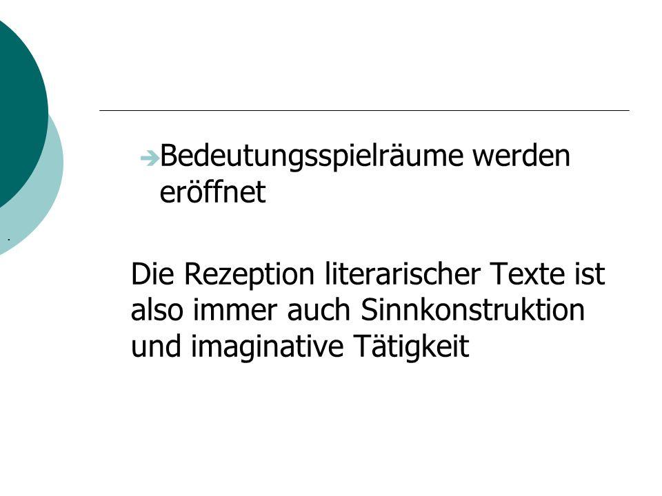 Bedeutungsspielräume werden eröffnet Die Rezeption literarischer Texte ist also immer auch Sinnkonstruktion und imaginative Tätigkeit.