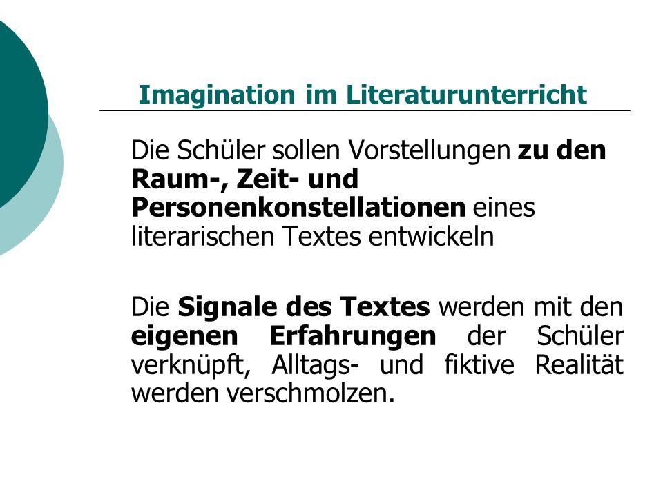 Imagination im Literaturunterricht Die Schüler sollen Vorstellungen zu den Raum-, Zeit- und Personenkonstellationen eines literarischen Textes entwickeln Die Signale des Textes werden mit den eigenen Erfahrungen der Schüler verknüpft, Alltags- und fiktive Realität werden verschmolzen.