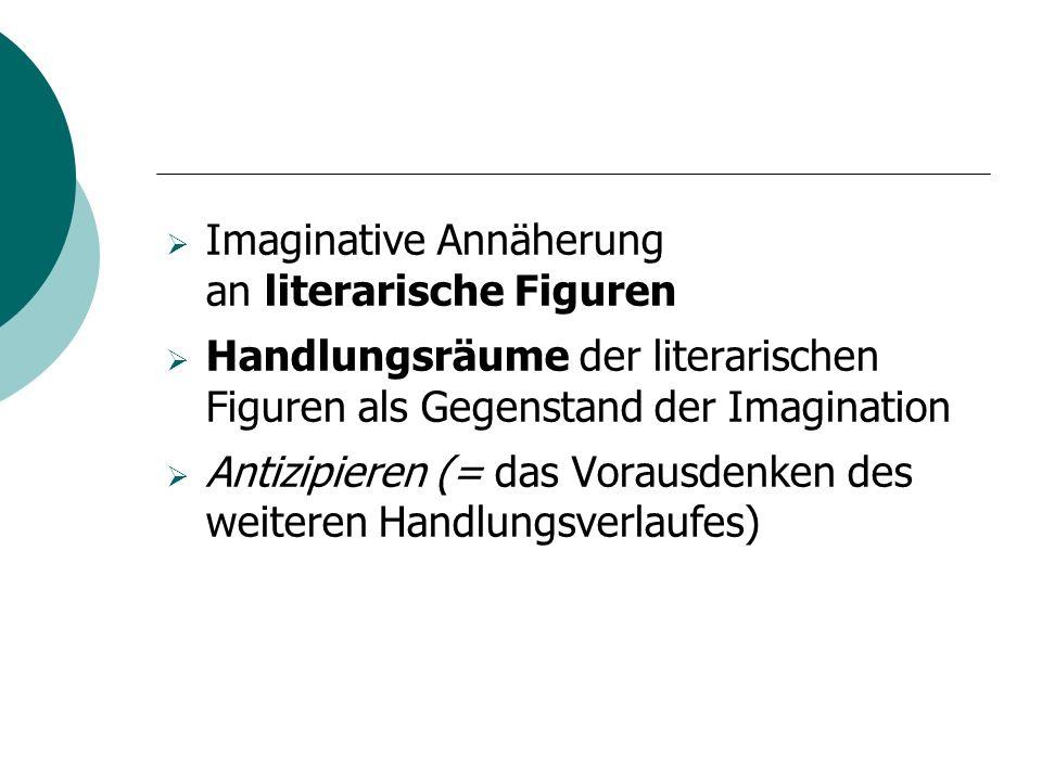 Imaginative Annäherung an literarische Figuren Handlungsräume der literarischen Figuren als Gegenstand der Imagination Antizipieren (= das Vorausdenken des weiteren Handlungsverlaufes)