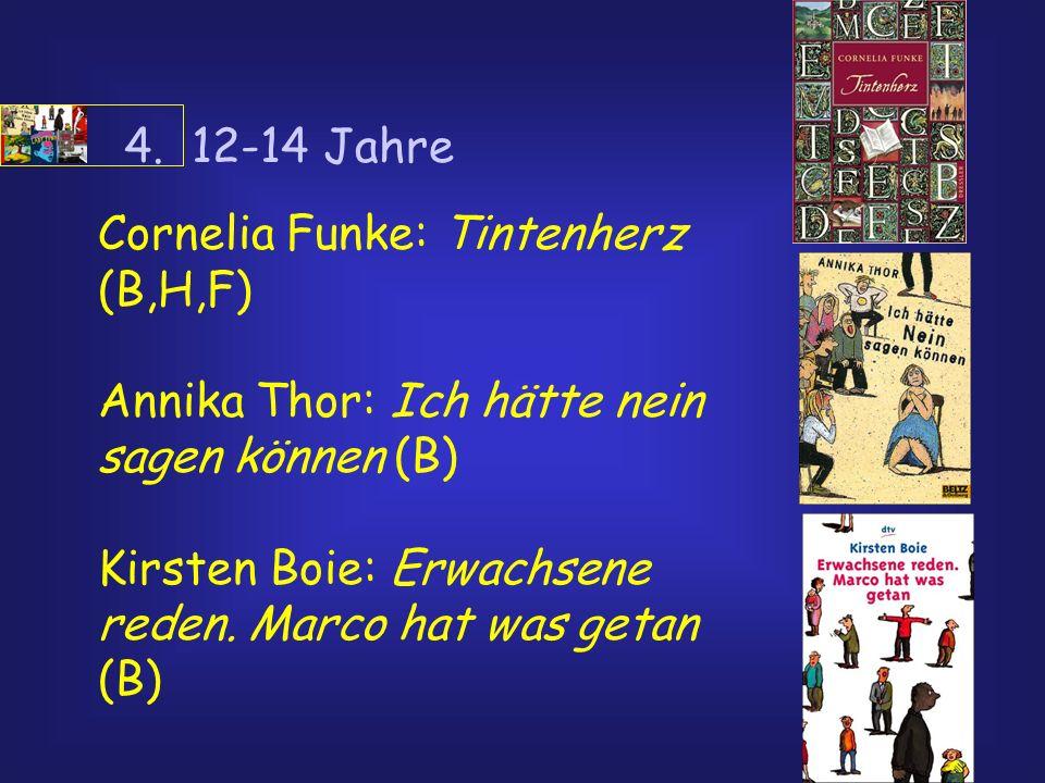 4. 12-14 Jahre Cornelia Funke: Tintenherz (B,H,F) Annika Thor: Ich hätte nein sagen können (B) Kirsten Boie: Erwachsene reden. Marco hat was getan (B)