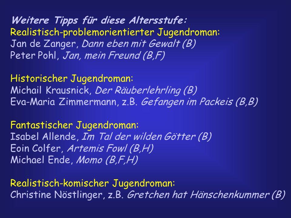 Weitere Tipps für diese Altersstufe: Realistisch-problemorientierter Jugendroman: Jan de Zanger, Dann eben mit Gewalt (B) Peter Pohl, Jan, mein Freund