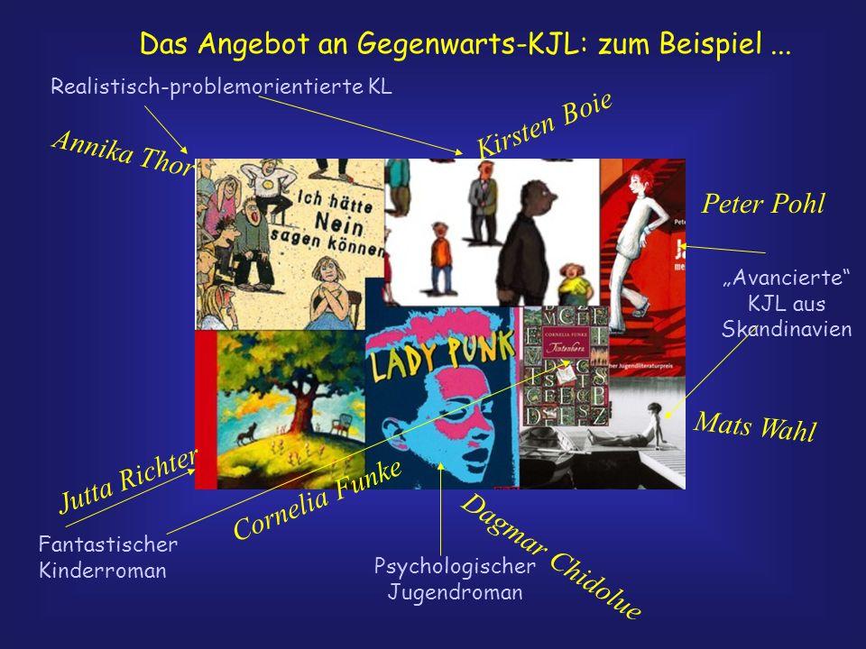 Das Angebot an Gegenwarts-KJL: zum Beispiel... Realistisch-problemorientierte KL Psychologischer Jugendroman Fantastischer Kinderroman Avancierte KJL