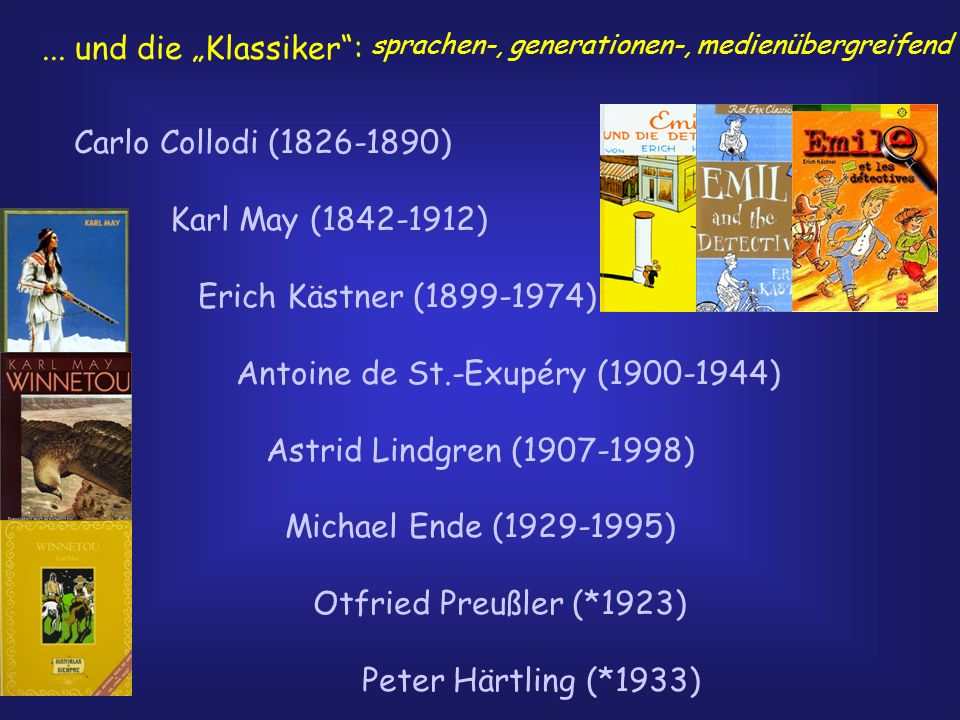 ... und die Klassiker: Carlo Collodi (1826-1890) Karl May (1842-1912) Erich Kästner (1899-1974) Antoine de St.-Exupéry (1900-1944) Astrid Lindgren (19