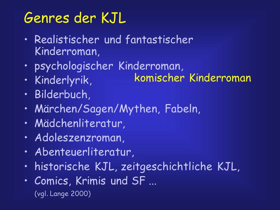 Genres der KJL Realistischer und fantastischer Kinderroman, psychologischer Kinderroman, Kinderlyrik, Bilderbuch, Märchen/Sagen/Mythen, Fabeln, Mädche