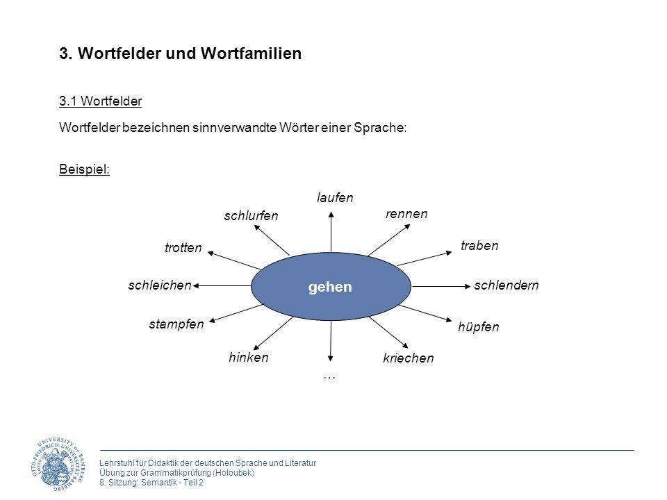 Lehrstuhl für Didaktik der deutschen Sprache und Literatur Übung zur Grammatikprüfung (Holoubek) 8. Sitzung: Semantik - Teil 2 3. Wortfelder und Wortf
