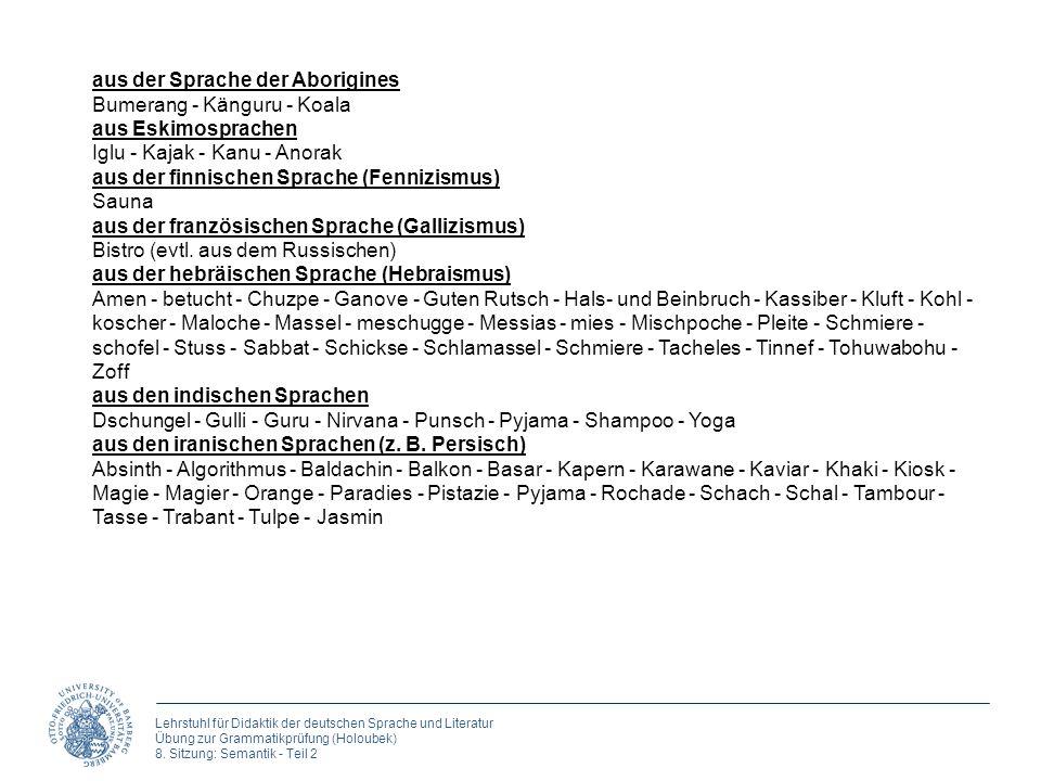 Lehrstuhl für Didaktik der deutschen Sprache und Literatur Übung zur Grammatikprüfung (Holoubek) 8. Sitzung: Semantik - Teil 2 aus der Sprache der Abo