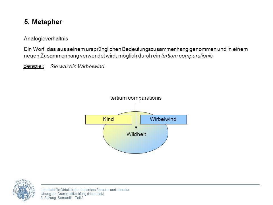 Lehrstuhl für Didaktik der deutschen Sprache und Literatur Übung zur Grammatikprüfung (Holoubek) 8. Sitzung: Semantik - Teil 2 5. Metapher Analogiever