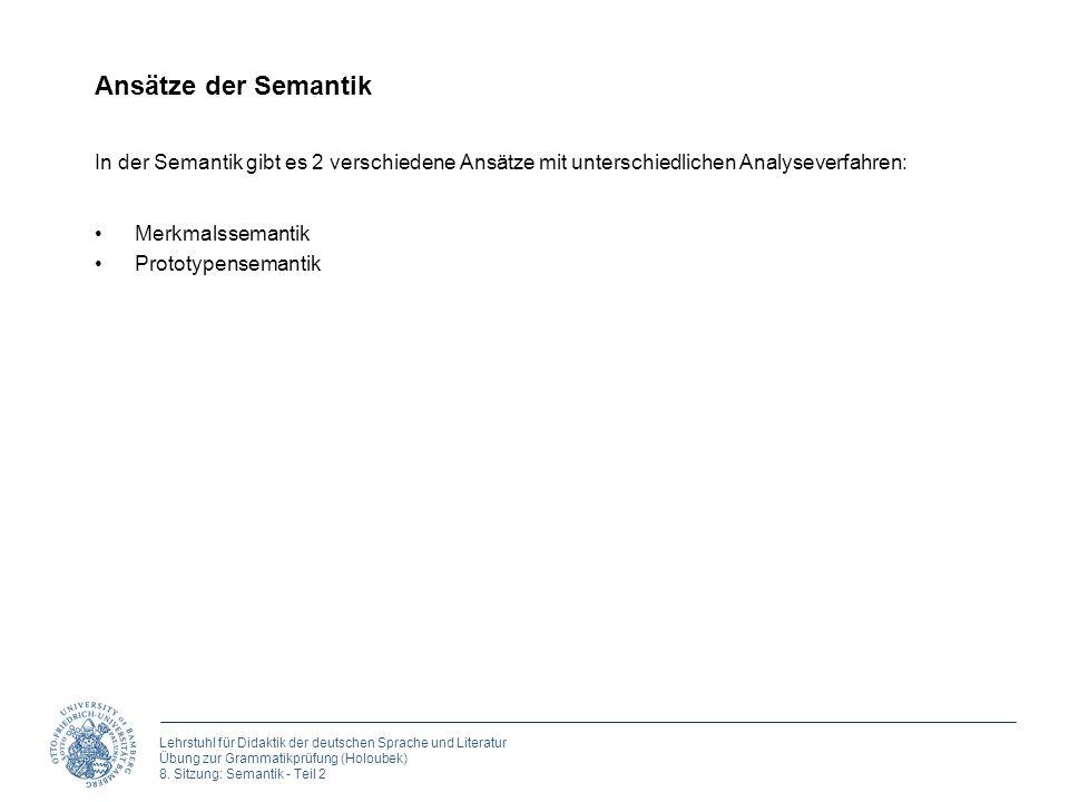Lehrstuhl für Didaktik der deutschen Sprache und Literatur Übung zur Grammatikprüfung (Holoubek) 8. Sitzung: Semantik - Teil 2 Ansätze der Semantik Me
