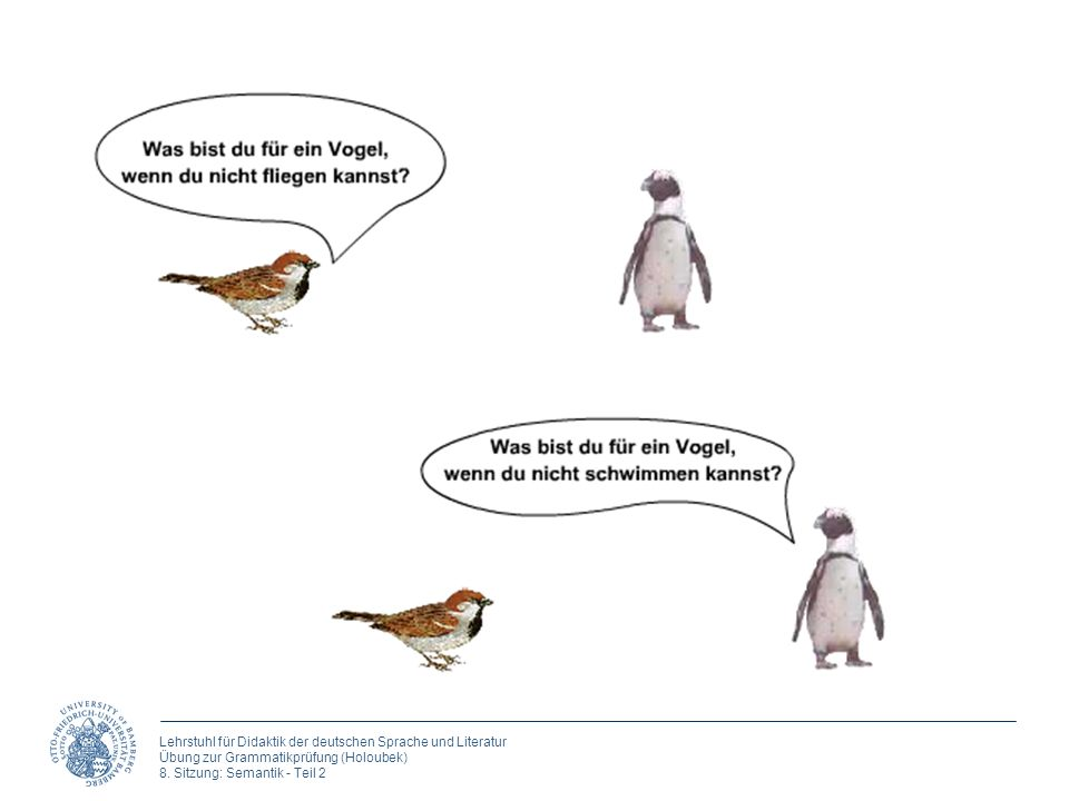 Lehrstuhl für Didaktik der deutschen Sprache und Literatur Übung zur Grammatikprüfung (Holoubek) 8. Sitzung: Semantik - Teil 2