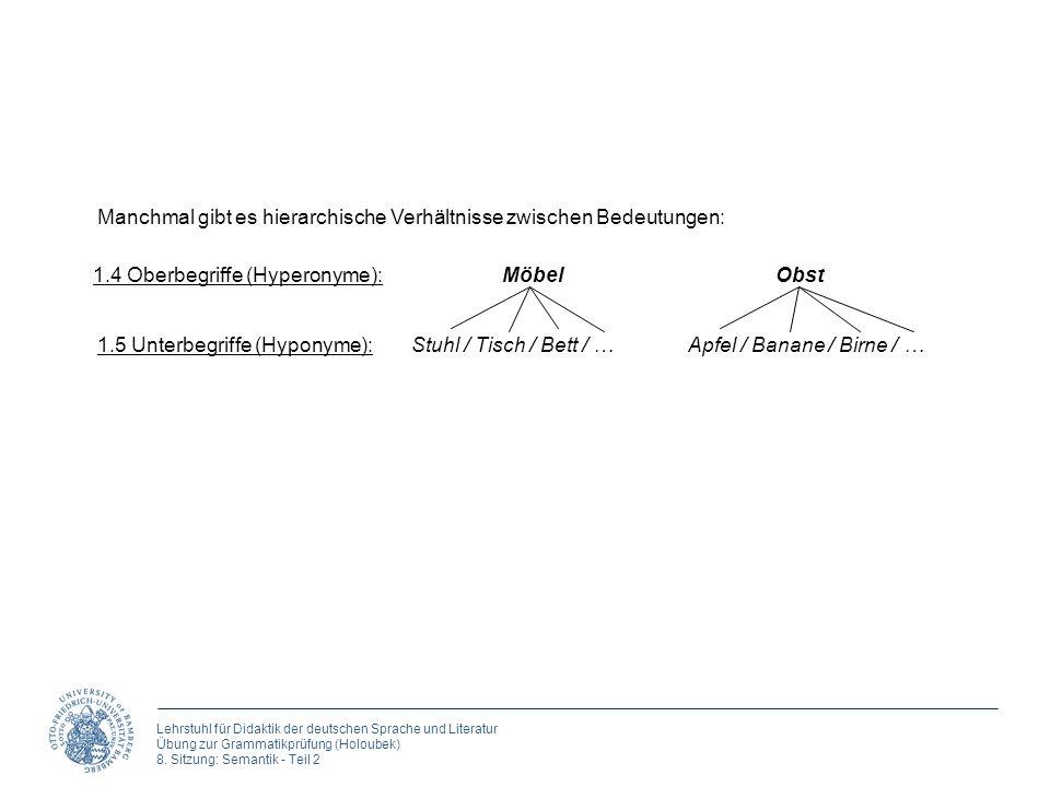 Lehrstuhl für Didaktik der deutschen Sprache und Literatur Übung zur Grammatikprüfung (Holoubek) 8. Sitzung: Semantik - Teil 2 Manchmal gibt es hierar