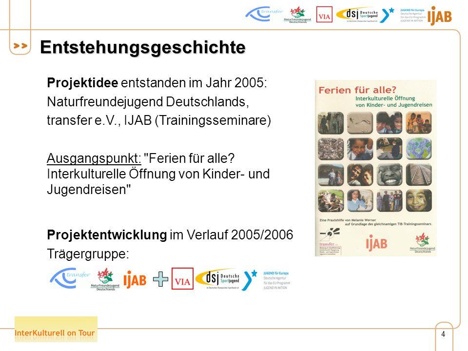 4 Entstehungsgeschichte Projektidee entstanden im Jahr 2005: Naturfreundejugend Deutschlands, transfer e.V., IJAB (Trainingsseminare) Ausgangspunkt: Ferien für alle.