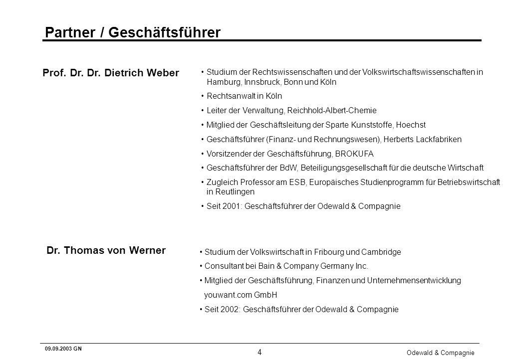 Odewald & Compagnie 4 09.09.2003 GN Partner / Geschäftsführer Studium der Rechtswissenschaften und der Volkswirtschaftswissenschaften in Hamburg, Inns