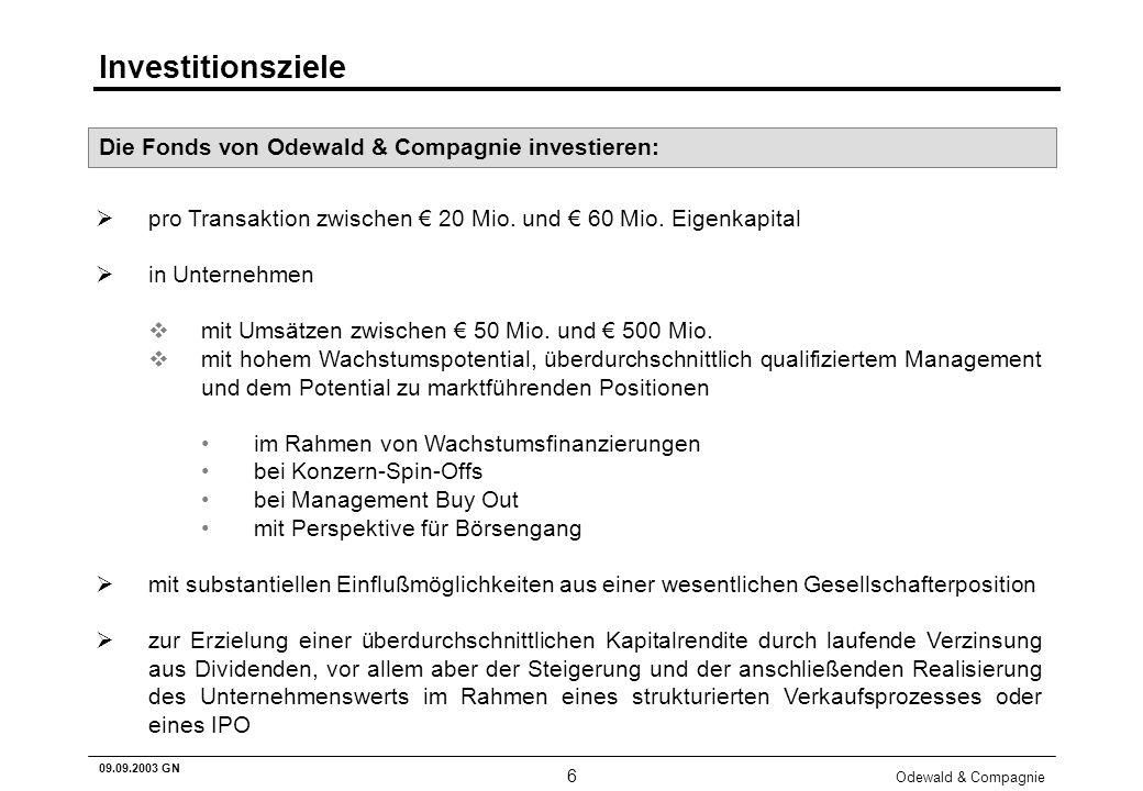 Odewald & Compagnie 6 09.09.2003 GN Investitionsziele pro Transaktion zwischen 20 Mio. und 60 Mio. Eigenkapital in Unternehmen vmit Umsätzen zwischen