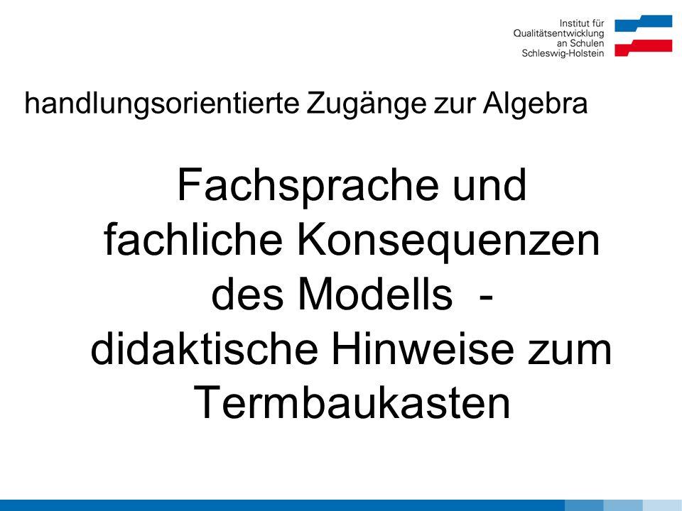 Fachsprache und fachliche Konsequenzen des Modells - didaktische Hinweise zum Termbaukasten handlungsorientierte Zugänge zur Algebra